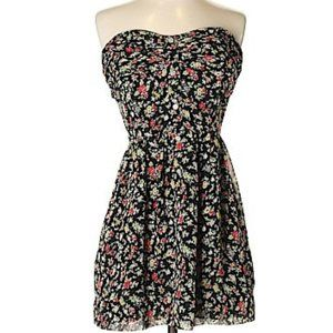 BCBGeneration Floral short Sheer strapless dress S